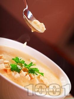 Крем супа с картофи и крутони с къри (без мляко) - снимка на рецептата